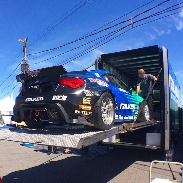 It's a beautiful day here at #wallspeedway in #newjersey . My #falkentire x #discounttire #subaru #brz is getting unloaded for practice. Who is coming to watch practice and qualify today? Who will be watching via #formulad Live Stream? #fdnj #borla #illest #whiteline #batterytender #hpiracing #kwsuspension #runbc