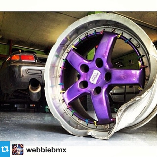 #Repost from @webbiebmx So here she is the famous cable tie split rims hate to take the fun out of this but I'm a truth telling man.. The rimes where welded all the way round no need for bolts so I cable tied then for a joke they lasted a year then I was twinning with @mrkerr an killed one of them:( sad times alot of people took pics of my wheels and a lot of car pages posted them.. If you ever see someone has posted a pic of them tag me;) #theend the fine work of the @downsidedrifters