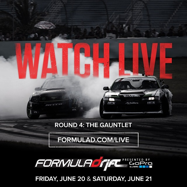 "Round 4 – Wall, New Jersey Livestream Scheduled Times and the Official hashtags for the weekend are #formulad #formuladrift #FDNJ Friday, June 20, 2014 – Practice / Qualifying 12:00 PM – 1:00 PM – FD: Open Practice – Group 1 1:00 PM – 2:00 PM – FD: Open Practice – Group 2 2:00 PM – 5:00 PM – FD: Qualifying 2:00 PM – 5:00 PM – LIVE STREAM: PRO Live Stream Begins ( US EASTERN STANDARD TIME) 7:00 PM – 8:00 PM – FD: Open Practice – Top 32 Saturday, June 21, 2014 – Main Event 12:00 PM – 1:30 PM – FD: Open Practice – Top 32 1:30 PM – 3:30 PM – FD: MAIN COMPETITION – Round of 32 1:30 PM – 7:30 PM – LIVE STREAM: PRO Live Stream Begins ( US EASTERN STANDARD TIME) 3:30 PM – 5:00 PM – ""Halftime Break"" 5:00 PM – 5:30 PM – National Anthem / Opening Ceremonies 5:30 PM– 7:30 PM – MAIN COMPETITION: Round of 16 to Finals 7:30 PM – 8:00 PM – Trophy Ceremony & Closing"