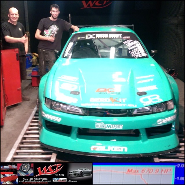 We had great results tuning the S14 yesterday at West Coast Performance even with the massive heat in Ireland this week. It made 670BHP, I drove the car and it's even more responsive and powerful than before. Huge thanks to John and everyone in WCP for the support! #wcpdyno