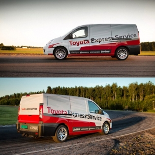 One of the new things we've done this season is building this new Euro-style Toyota Express Service Proace service van! It has a full rack system for our spare parts, an full wrap, dipped bumpers and sills and a wheel and tire combo. It's the perfect work horse for hauling the around Europe!
