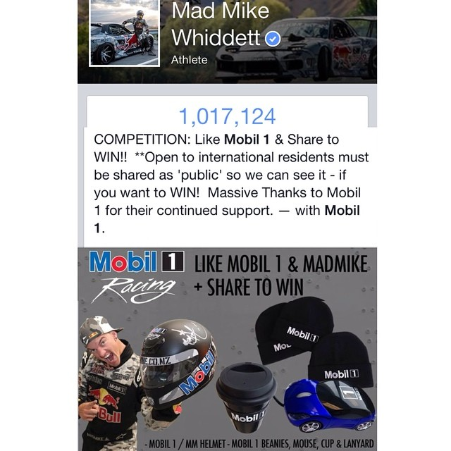 #competitions all week over on my #facebook to celebrate hittin 1million! #mobil1 giveaway up for grabs.