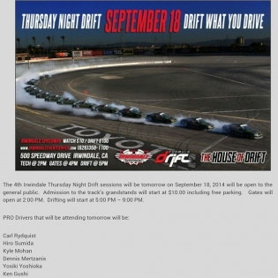 Thursday Night DRIFT - Irwindale Speedway September 18, 2014