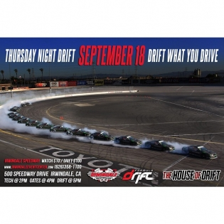 Thursday Night Drift tonight at Irwindale Speedway and will be open to the general public. Admission to the track's grandstands will start at $10.00 including free parking. Gates will open at 2:00 PM. Drifting will start at 5:00 PM – 9:00 PM. PRO Drivers that will be attending tonight will be: Carl Rydquist Hiro Sumida Kyle Mohan Dennis Mertzanis Yosiki Yoshioka Ken Gushi