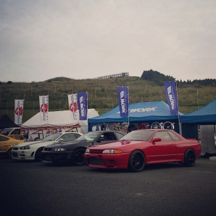 WORK booth ready for the Kyushu Hyper Rev meeting in Autopolis circuit! Garage Active brought 4 of its finest GT-Rs for the fans today!