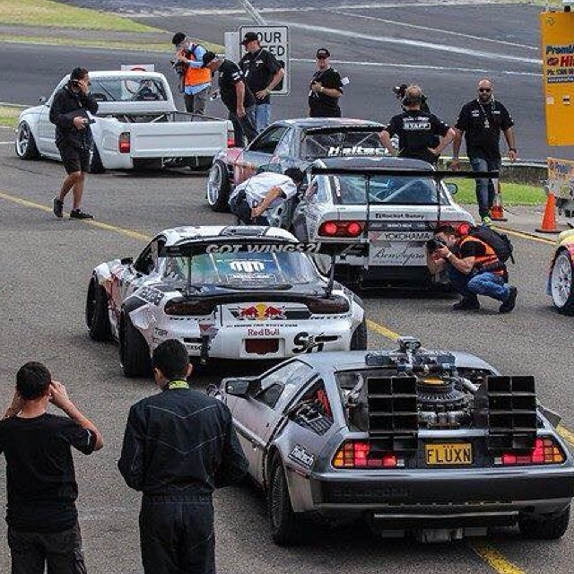 @haltechecu #DeLorean #DMC12 Vs #MADBUL plus some other badass whips in this pic @engineeredtoslide @driftsquid #BenSopra #BackToTheFuture #MartyMcFly | pic props @jbrezic