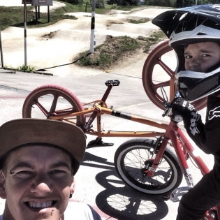 Enjoying the New Zealand sun with ma boy @lincoln_whiddett at the BMX track today.