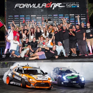 Team Norway and Papadakis Racing on the podium at the @formulad Irwindale finals. Such a good time! (Photos by @larry_chen_foto)