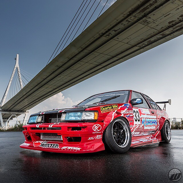 DROPPS Toyota Corolla Levin AE86 on WORK Meister S1 F/R:15x8J -10mm #artofwheel