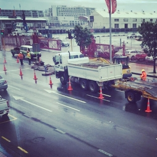 "Epic support from Auckland City, when we mention a huge traffic island on Quay St one of the city's busiest roads is right in the way for the @redbull course their response is ""No worries we will remove it right away!"""