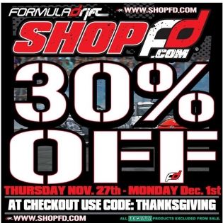 Formula DRIFT merchandise online store sale starting THURSDAY through Monday. 30% off the ENTIRE store (excludes TAKATA items) with code THANKSGIVING.