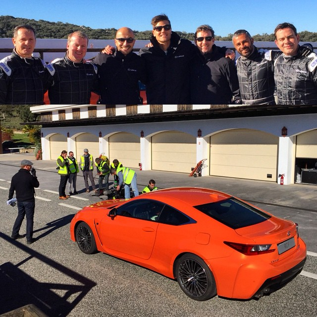 The real reason why I'm here in Southern Spain: I'm helping #Lexus launch the new #RCF, taking journalists out for some sideways fun and working with a great group of grip drivers. The gentlemen in the top picture are all very accomplished racers from BTCC, Le Mans and so forth. We're a big Toyota Motor Europe family here working to give the clients a great experience! #HoldStumt