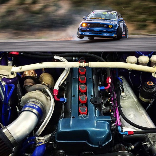My friend Marius rocks a #2JZ in his E30! Who else has a Toyota heart in their #drift or race car?
