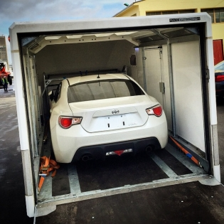 Hello old friend! Just picked up this load with our Brian James Race Transporter 4. Is this Norway's first @scion #FRS?