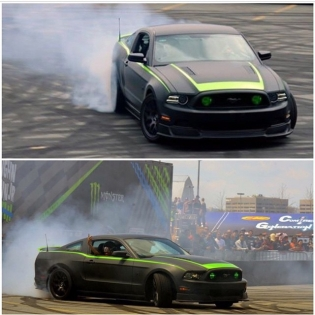 Flew back to Baltimore last night, got a couple hours of sleep, and now I am on my way to New York to drive this 2014 @mustangrtr Spec 2 at Supercross! Thanks @vaughngittinjr for prepping this 600hp supercharged party car for me to give rides with today. If you are heading to the race, stop by and give high fives!