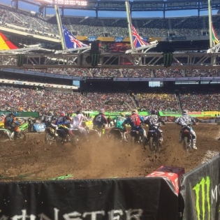 Front row seats at supercross! Thanks @dirtshark!