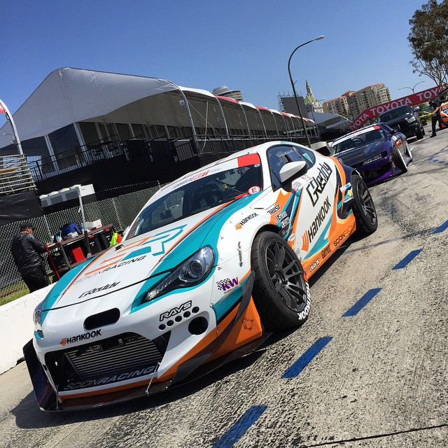 In the hot pits waiting for our turn in #FDLB Top32. @kengushi @greddyracing X @hankookusaracing X @scionracing FR-S