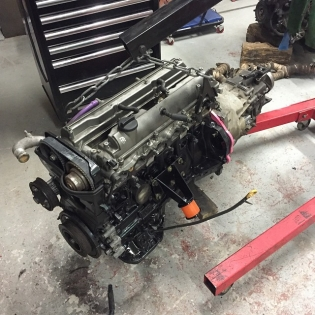 Another 2jz all prepped and ready to install into a 180sx. Bmw gearbox is getting popular here now