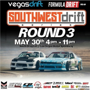 Come out this Saturday (tomorrow) to @vegasdrift for pro am round 3! There will also be a wet sesh at 6 to 11pm