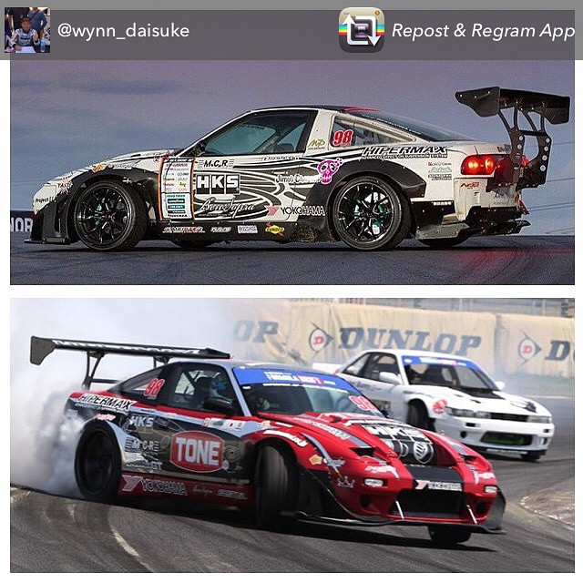 Daisuke Hasegawa's wild HKS sponsored 380SX is sporting some new coloring since his Super Street shoot. This weekend he'll be throwing the VR38DETT powered S13 sideways at the Suzuka Circuit D1GP. Be sure to follow Daisuke @wynn_daisuke #HKS #hksusa #madeinjapan #GTR #GT1000 #suzuka #d1gp #hkspower