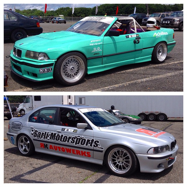 A couple of fun BMWs at @usdrift Round 2 at Wall Speedway today. The E39 is a drift taxi 540i with a supercharged M5 motor and 4 racing buckets. #drifting #usdrift #drifttaxi #e36 #e39