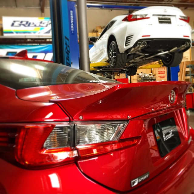 Working on a new #SupremeSP dual-muffler, quad-tip exhaust system for the #Lexus #RC350 #intheGReddygarage today