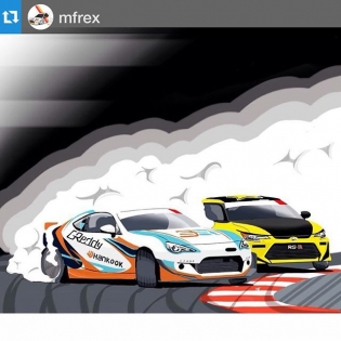 to close this holiday weekend. ・・・ @mfrex artwork of @kengushi vs @fredricaasbo Team @scionracing / @hankookusaracing
