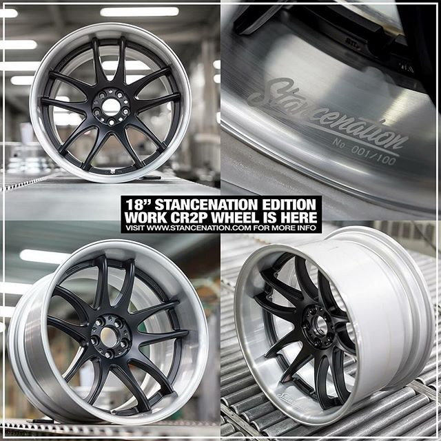 After tons of requests for an 18 inch version of the very limited WORK Emotion CR2P StanceNation Edition, we are happy to announce that they're finally available! Special combo finish (Matte black center disk with brushed barrel) and just like the 19/20 inch version, only 100 sets will be sold. Every set of wheels will be individually numbered and feature laser engraved StanceNation logo! Contact your local dealer for info and pricing. #artofwheel #cr2psnedition