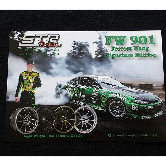 Proud to have our wheel sponsor @str_racing #strracing #strwheels out here this weekend! Come by our booth and get a hero card signed by Forrest! These signature wheels are now available. They are flow formed and sturdy. #getnuts #getnutslab #forrestwang #s15 #wheels #fdtx