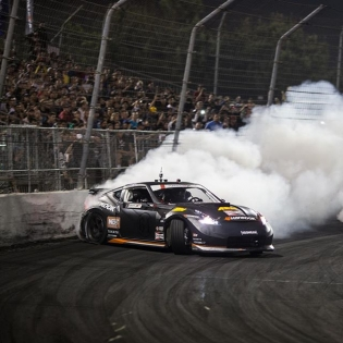 Another shot from last year as we covered the crowd in smoke and won our second @formulad championship! 2 days left until we hit the track for the final round of 2015.