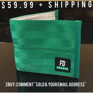 "Back by popular demand 2015 FD/Takata Green Wallets Only 300!! available in this batch $59.99 + shipping worldwide To Buy: Comment ""SOLD & your email address"" Watch for an email from our friends @sasquatch.io for a special checkout link · New logo · New Tan eco friendly lining · New takata business card insert Lifetime warranty included. sp/7-b #sasquatch #takataracing"