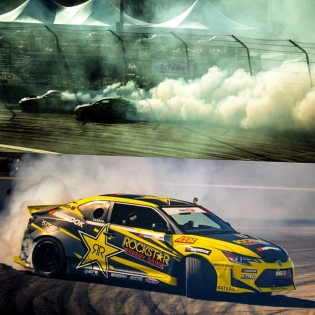 Had a great day practicing in the @rockstarenergy @hankookusaracing @scionracing tC and making clouds at Irwindale Speedway today! Tomorrow is qualifying day... Let's do this. #FDIRW #HoldStumt