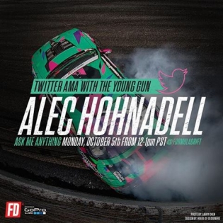 """Hey guys and gals, it's @AlecHohnadell doing the #FormulaDrift Irwindale Instagram and Twitter takeover! Join me today in 15 minutes on Formula Drift's Twitter and """"Ask Me Anything"""". I'll be on there from 12-1pm PST, see you there!🏼️ #ImNotAnonymousAnymore #YoungGun"""