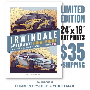 "Introducing the StanceWorks x FD Limited Irwindale Edt Art Print Grab yours now, under 200 LEFT. $35 + shipping worldwide available Comment ""SOLD"" & your email address Then look for an email from our friends @sasquatch.io to purchase Hand drawn by @Andrew_StanceWorks These 24""x18"" limited edition prints have each been stamped, numbered, and signed to mark their authenticity, and the colorful scene has been full-color offset printed using vegetable inks on high quality, thick 12pt paper stock #sasquatch and sp/9-a #FDIRW #Formulad #StanceWorks"