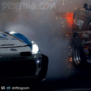 That was an intense #FDIRW Final4 battle @kengushi vs. @justinpawlak13 #Repost @driftingcom ・・・ 2015 Formula Drift Irwindale