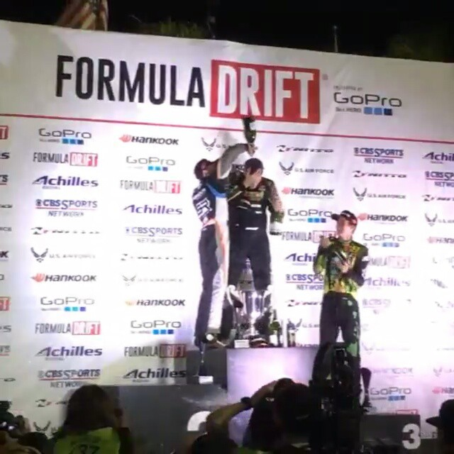 We really got soaked with champagne last night! I just wanted to say thank you again to my sponsors, fans and crew. An amazing end to Formula D! @str_racing @hankookusaracing @stancesuspension @turbobygarrett @_wisefab_ @jdmsportnation @runbc @rhinoproductsusa @chasebays @rehv_clothing @driveshaftshop @driftmotion1 @futurefab_jon @sleeperdesigns @fuelinjectorclinic @clutchmasters