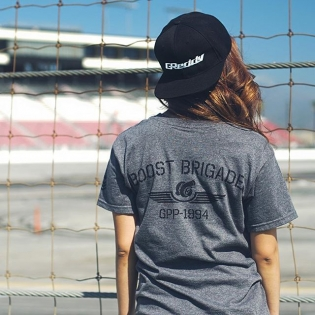 Who else is looking forward to #FormulaD #FDIRW and the Launch of #boostbrigadebygreddy this Friday? Follow the collection @boost_brigade And pick up the gear at the @greddyracing paddock at Irwindale Speedway @sara.choi with OG GReddy logo snap-back and #boostbrigade dark heather grey Turbo Wings tee.