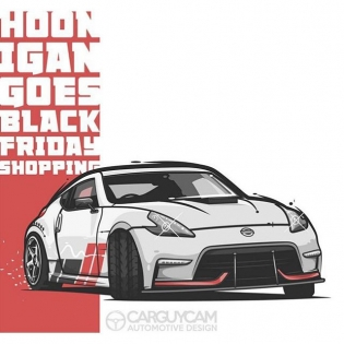 @carguycam busted out this rad illustration of my 370Z from #HooniganBlackFriday. If you have not seen the 360 degree video, click the link in my profile.