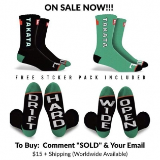 """LTD Edition Takata X FD Socks Only 300 pairs left $15 a pair w Free FD Sticker pack Comment """"SOLD & your email address"""" and our friends @sasquatch.io will send you a checkout link sp/7-14 #sasquatch #blackfriday #FormulaDRIFT"""