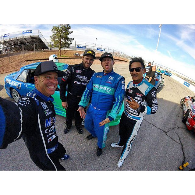 from @tylermcquarrie ・・・ Good times hanging out with these dudes and the rest of the @falkentire family for the @discount_tire event at Las Vegas Motor Speedway! @patgoodin @justinpawlak13 @daiyoshihara @gopro