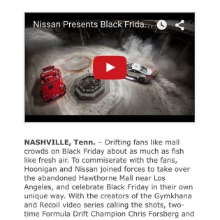 Today I am thankful for @nissan who played a major role in getting #HooniganBlackFriday together. Screengrab is from Nissan News, to read article and see more behind the scenes photos go to nissannews.com
