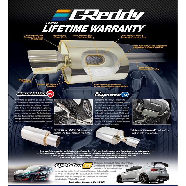 Limited Lifetime Warranty for GReddy #SupremeSP, and Performance, Sound, Style and Quality -