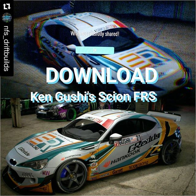 you can share, nice! @nfs_driftbuilds ・・・ @kengushi 's Scion FRS is now available for everyone to download on the PS4!!! Don't forget to take a picture of it and show it to me! You're welcome! @rocket.bunny.pandem @nfs_driftbuilds
