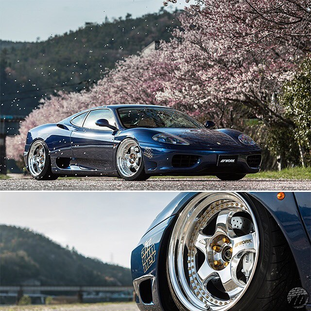 It's cherry blossom fever in Japan right now! Here is a Sakura shot with K'S Line Ferrari 360 Modena on WORK Meister S1