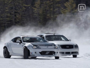 @chrisforsberg64 and I shredding the frozen lake in the latest episode of #Tuerckd. We were running @hankookusa studded snow tires. The driving experience was amazing and challenging. We were going normal pavement speeds but all the steering and control inputs were in slow motion and had to be planned seconds before doing a translation rather than a split second when you're on pavement. Crazy time! Hit the link in my profile the the full episode. @networka @valvoline @bcracingna @namelessperformance #RT411