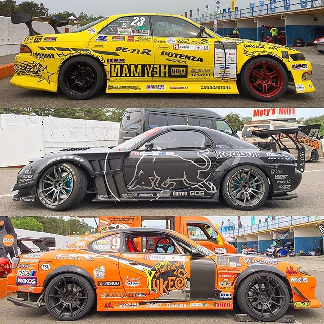 @shinjiminowa, @madmike_drift and @naoto_suenaga at @formuladjapan Round 2 at @ebisucircuit.