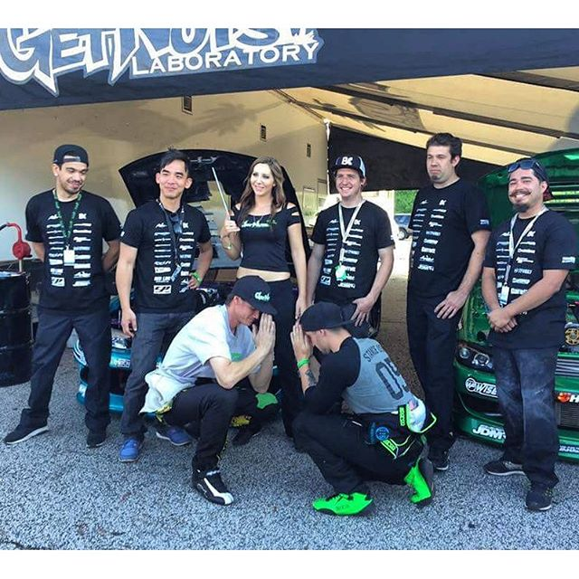 Big shout out to our team members. Even though we had a rough start to #FDATL, they hung in there and got it done. Far left is @jazzy_jz_jeff (crew and general), next is @tfdave from @stanceusa (suspension guru, dials the cars in), @2jzgrl (team manager, sales, all background operations), @garretnuts (crew chief and my main left hand man), yes I'm left handed. @kyletunedit (tuner), and @mykeystark (crew, tire runner, hustler) Myself and @alechohnadell on the bottom, obviously trying to keep up with the latest pic trends. THANK YOU GUYS, couldn't do it without you!