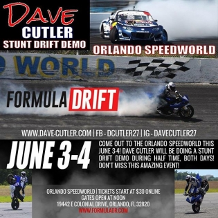 Check out @davecutler27 - Pro Stunt Athlete Half time Stunt Drift Demo this weekend at Round 3 - Orlando | #fdorlando #formulad #formuladrift