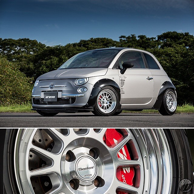 N'S Stage Fiat 500 on WORK Seeker FX F:16x7.5J +8mm / R:16x9.5J +16mm