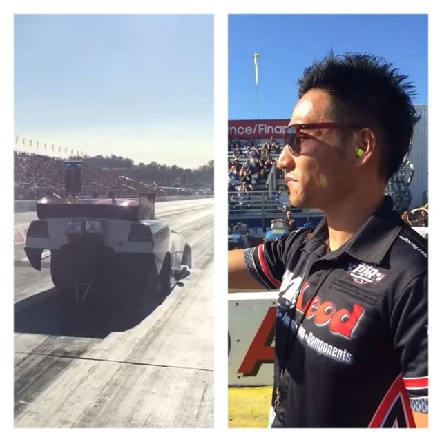 Throwback to my first NHRA experience at the starting grid. Watch my candy ass as I flinch when the @mcleod_racing funny car takes off : @krista_ball